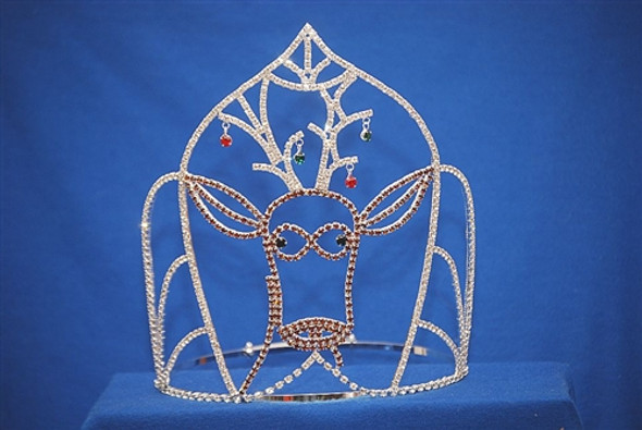 """Adorable 8"""" Reindeer crown with dangling ornaments. Adjustable Band"""