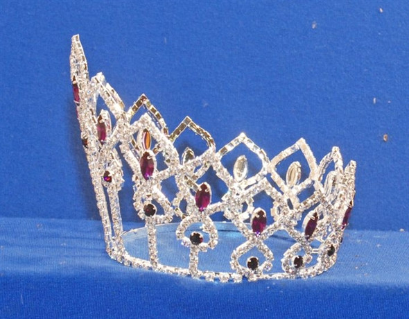 """4"""" Full Round Crown with purple accent stones"""