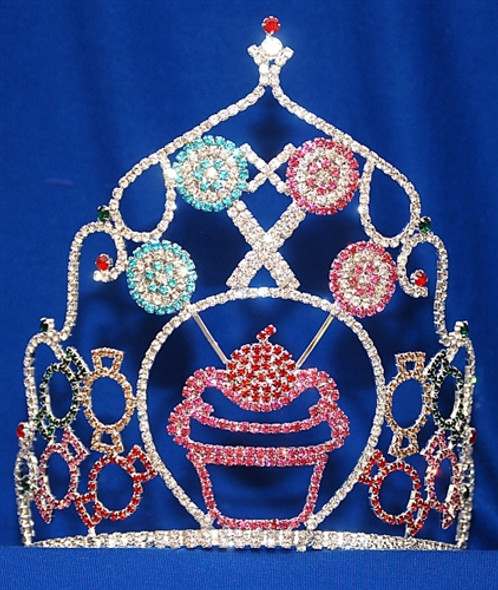 "Adorable 8"" cupcake crown with adjustable band.      CR-3001"