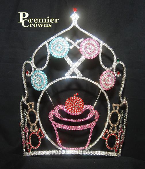 "Adorable 10"" cupcake crown with adjustable band.     CR-3002"