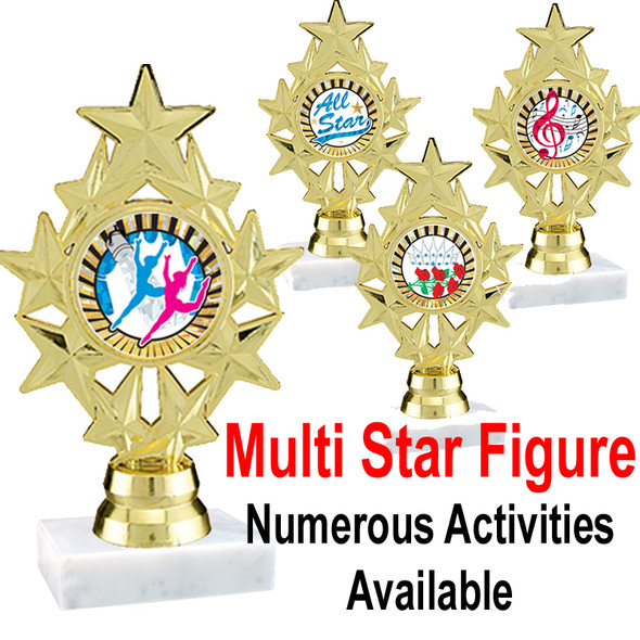 """6 1/4"""" Star trophy with numerous activities/sports available"""