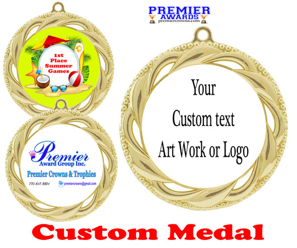 Custom medal.  Upload your logo, art work or text for a unique medal great for any event!