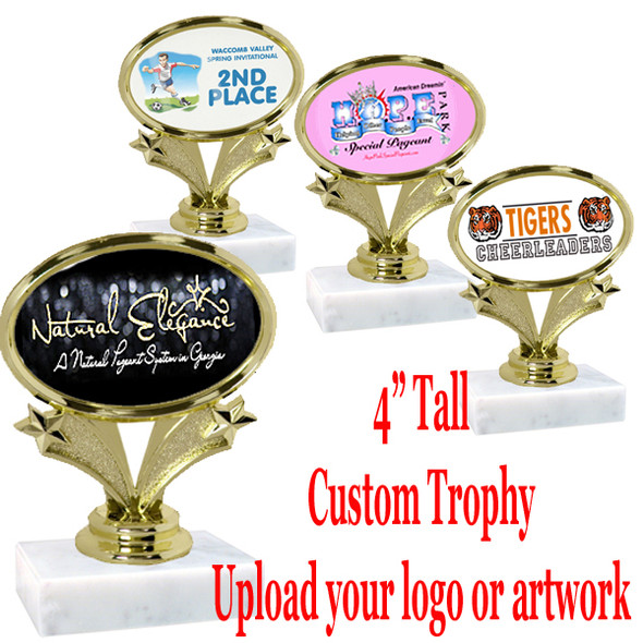 """4"""" tall trophy with your custom insert.  Upload your logo or art work.  Great for participation and side awards (90064)"""
