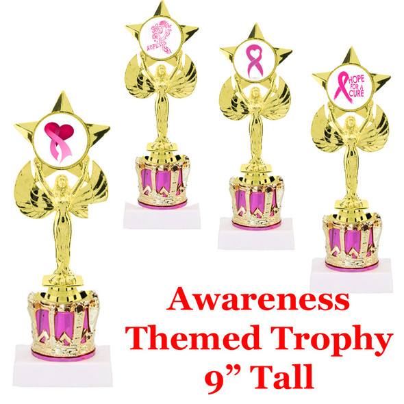 """Victory with Awareness insert on Pink Crown riser.  Select artwork and base.  9"""" Tall"""