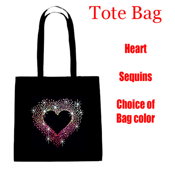 Sequin Heart Tote Bag.   Choice of bag color.  Great gift item!