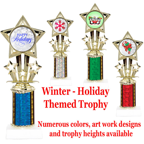 Christmas - Winter themed one column trophy.  Numerous designs, colors and trophy heights available.  Height starts at 10""