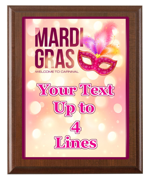 Mardi Gras Theme Full Color Plaque.  Customize with your text.  5 Plaques sizes available.  002
