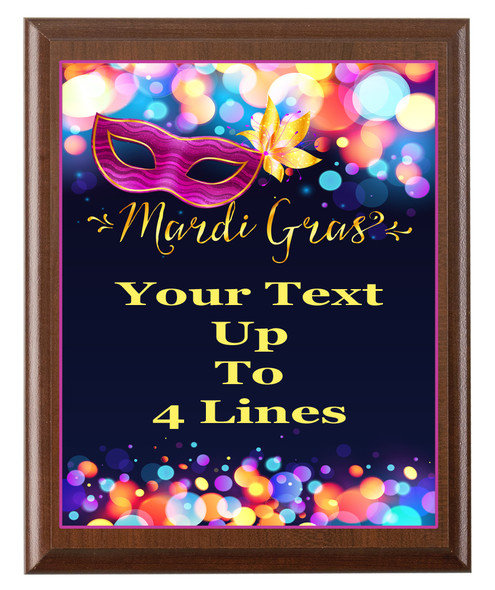 Mardi Gras Theme Full Color Plaque.  Customize with your text.  5 Plaque sizes available.  005