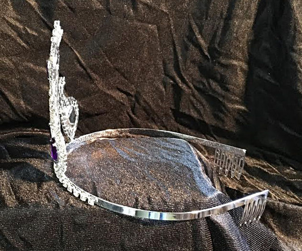 """3.5"""" crown with Purple accent stones and side combs  c51"""