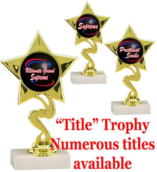 """6 1/4"""" tall Title Specific Trophy.  Numerous titles available.  (80106)"""