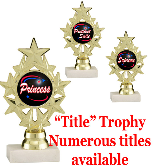 """6 1/4"""" tall Title Specific Trophy.  Numerous titles available.  (ph75)"""