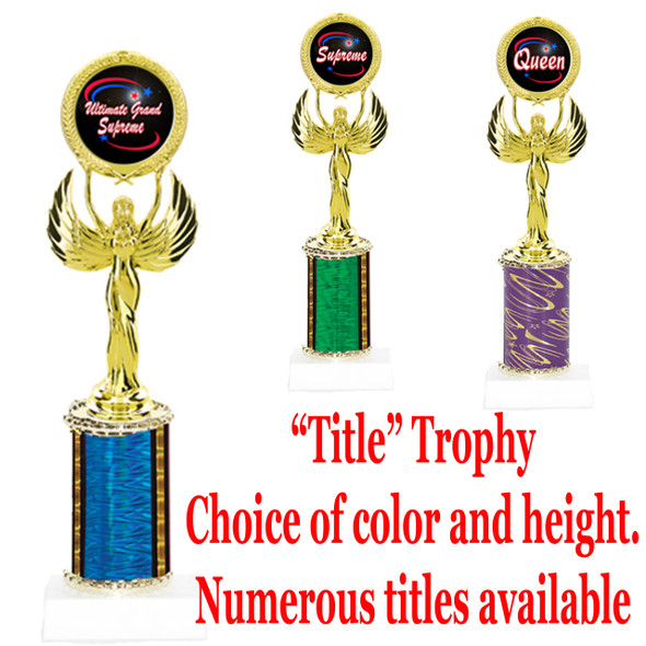 """Title"" Specific trophy.  Numerous titles available.  Choice of color, trophy height and title.  Height starts at 10""  (80087)"