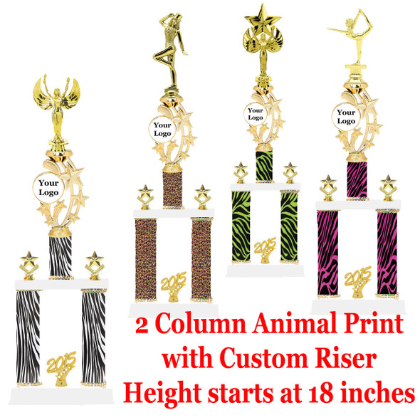 Animal Print 2 Column trophy with customizable riser.  Choice of animal print, trophy height fna figure.  Trophy height starts at 18 inches