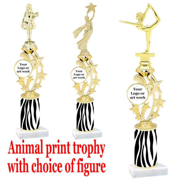 """Custom Trophy.  Animal Print column with choice of figure and trophy height.  Height starts at 14"""".  Upload your logo or custom art work.  (mr200-001"""