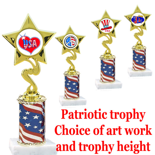"""Patriotic trophy.  Flag column with choice of art work.  Select base, trophy height and art work.  Trophy height starts at 10"""".  (80106)"""