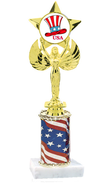 """Patriotic trophy.  Flag column with choice of art work.  Select base, trophy height and art work.  Trophy height starts at 10"""".  (7517)"""