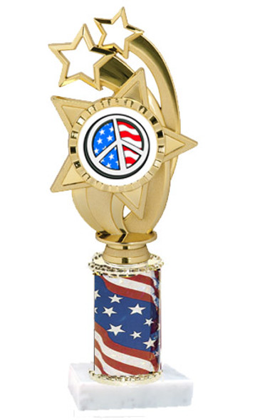 """Patriotic trophy.  Flag column with choice of art work.  Select base, trophy height and art work.  Trophy height starts at 10"""".  (ph55)"""