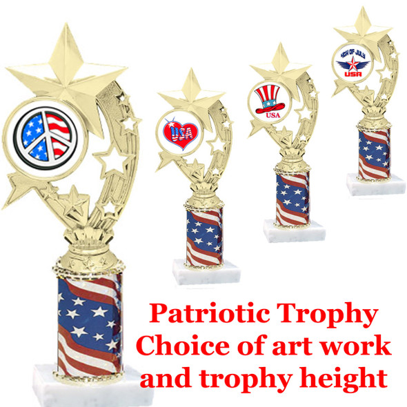 """Patriotic trophy.  Flag column with choice of art work.  Select base, trophy height and art work.  Trophy height starts at 10"""".  (h208)"""