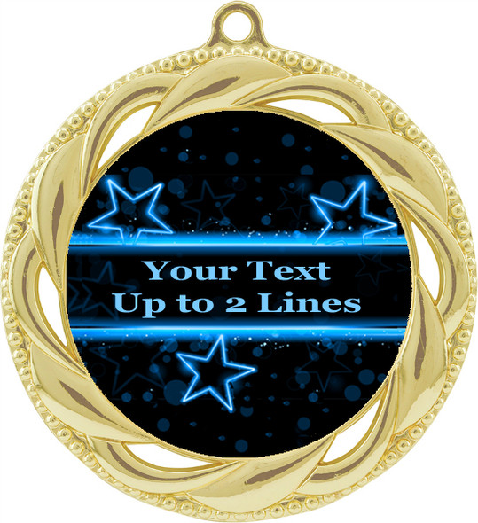"Customizable 2 3/4"" gold medal.  Customize with your text.  Includes free back of medal engraving and neck ribbon"