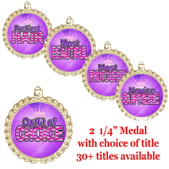 "Title Medals 2 1/4"" diameter.  30+ titles available with free engraving and neck ribbon"