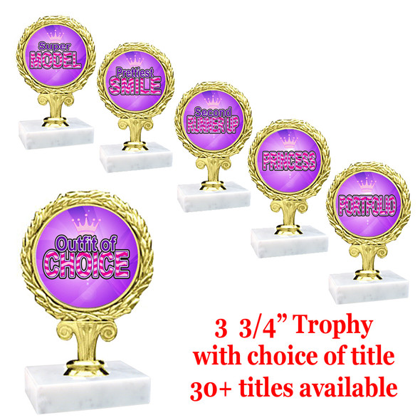 "3 3/4"" Title trophy.  Choice of title.  Includes free engraving.  Base is 2""x2"" marble. Great for side awards!"