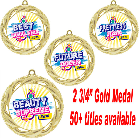 "Gold Medal 2 3/4"" diameter with choice of insert.  Over 50+ titles available.  New titles!  Includes free neck ribbon and back of medal engraving.  (938)"