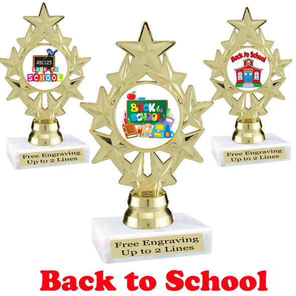 Back to School themed trophy.  9 Designs available. (ph75)