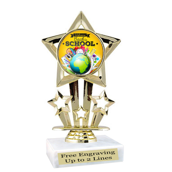 """6"""" tall   Back to School themed trophy.  9 Designs available. (767"""