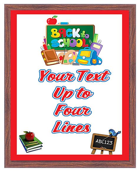 Back to School theme Custom Full Color Plaque.  Brown plaque with full color plate. 5 Plaques sizes available