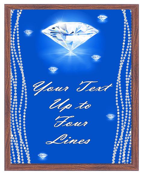 Diamond theme Custom Full Color Plaque .  Brown plaque with full color plate. 5 Plaques sizes available
