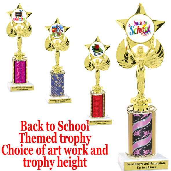"""BTS Theme one column trophy.  Choice of art work, column color and trophy height.  Trophy height starts at 10"""" tall. (7517)"""