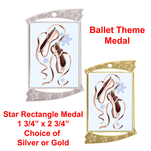 Rectangle Medal with Ballet theme art work.  Choice of gold or silver finish.  Includes free engraving and neck ribbon