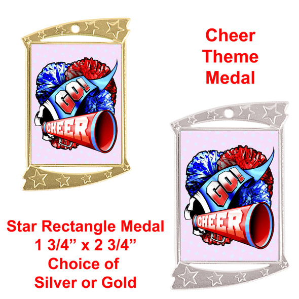 Rectangle Medal with Cheer theme art work.  Choice of gold or silver finish.  Includes free engraving and neck ribbon