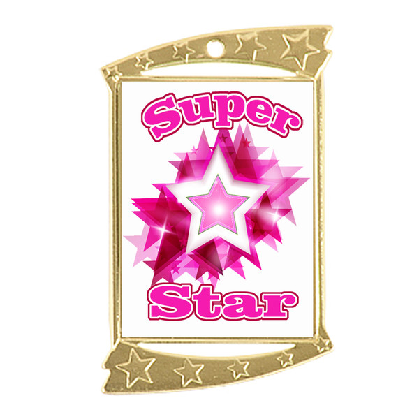 Rectangle Medal with Pink Super Star theme art work.  Choice of gold or silver finish.  Includes free engraving and neck ribbon
