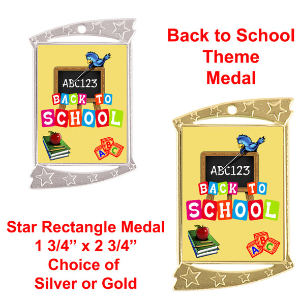 Rectangle Medal with Back to School theme art work.  Choice of gold or silver finish.  Includes free engraving and neck ribbon