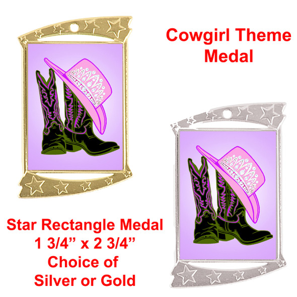 """Rectangle Medal with """"Boots and Crown"""" theme art work.  Choice of gold or silver finish.  Includes free engraving and neck ribbon"""