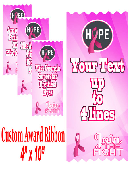 "Awareness theme custom award ribbon.  4"" wide x 10"" long.  Customize with up to 4 lines of your custom text.  (AW01)"