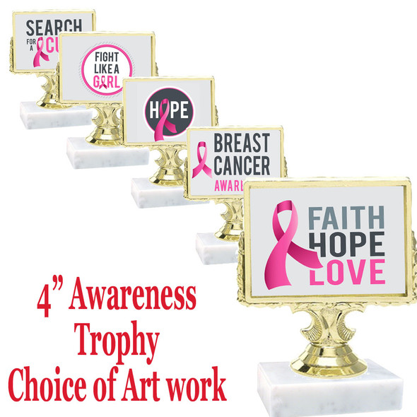 """4"""" Rectangle """"shadow box"""" figure with choice of awareness art work.  Includes free engraved name plate"""