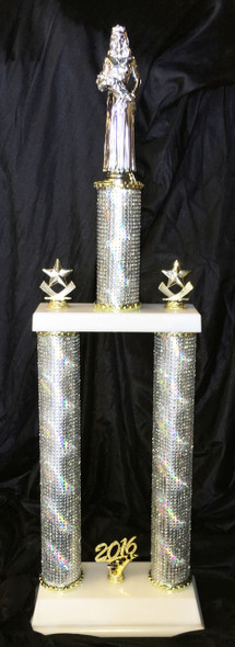 Bling at it's finest!  2 Column Crystal Rhinestone trophy.  Numerous figures, trophy heights and trim available.  A special trophy for that special award!