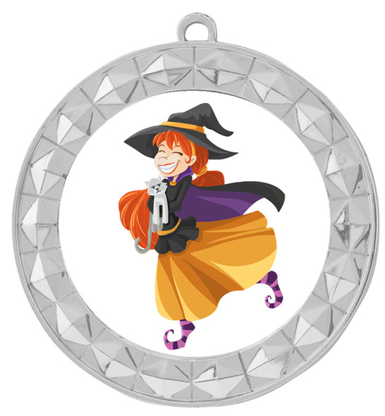 Silver Halloween theme medal.  Choice of art work.  Includes free engraving and neck ribbon
