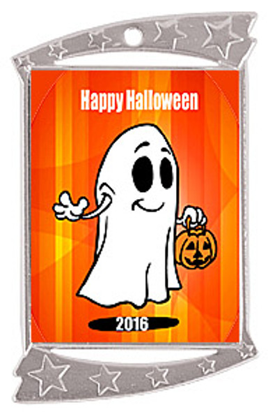 """1 3/4"""" x 2 3/4"""" Silver Rectangle Halloween theme medal.  Includes free engraving and free neck ribbon"""