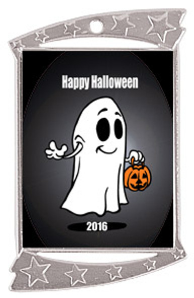 """1 3/4"""" x 2 3/4"""" Silver Rectangle Halloween theme medal.  Includes free engraving and free neck ribbon (02)"""