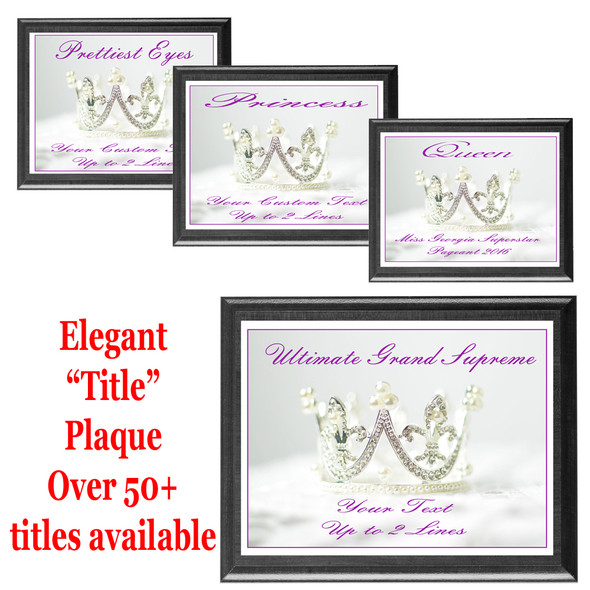 "Elegant ""Title"" plaque.  Black plaque available in 5 sizes.  Over 50+ titles available.  Customize with your text."