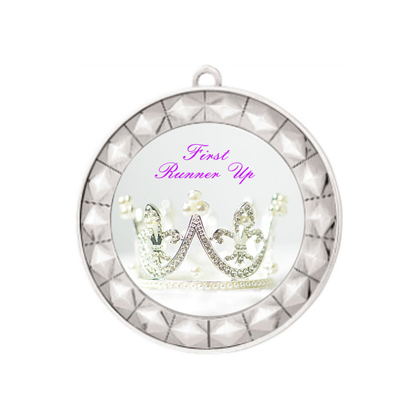 "Elegant Title Silver Medal 2 3/4"" diameter with choice of insert.  Over 50+ titles available.  New titles!  Includes free neck ribbon and back of medal engraving."