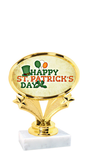 """St Patrick's Day theme trophy  4"""" tall. (001)"""