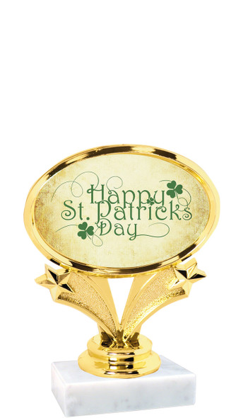 """St Patrick's Day theme trophy  4"""" tall. (002)"""