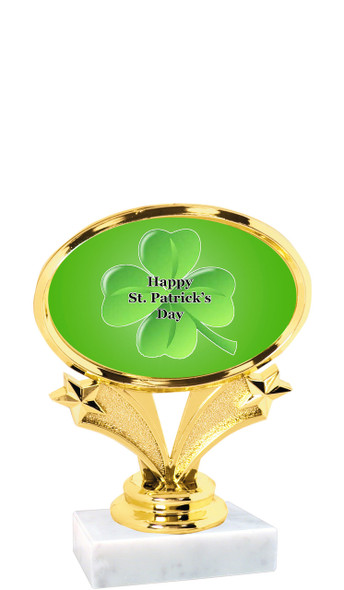 """St Patrick's Day theme trophy  4"""" tall. (003)"""