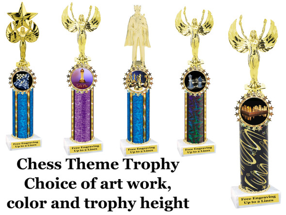 Chess theme one column.  Choice of figure, color, art work and trophy height.