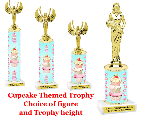 """Cupcake trophy.  A """"Premier"""" exclusive trophy!  Choice of figure and trophy height."""