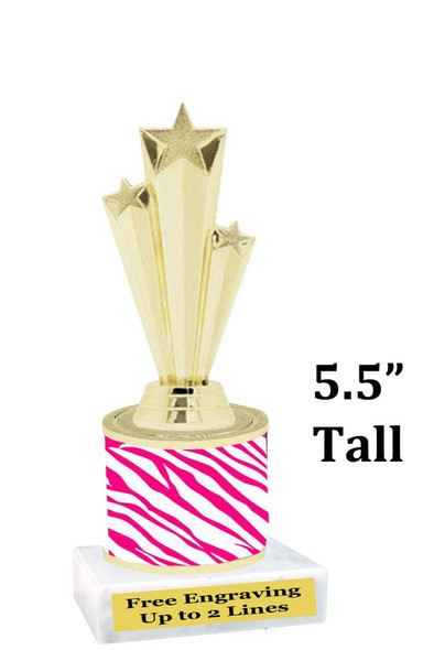 """5  1/2"""" tall trophy with choice of color.  Great for side awards and participation.  (134-g)"""